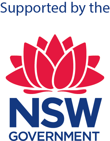 Large red waratah logo in the centre representing the new south wales government. Above and below the waratah in navy blue is the text 'supported by NSW government'.