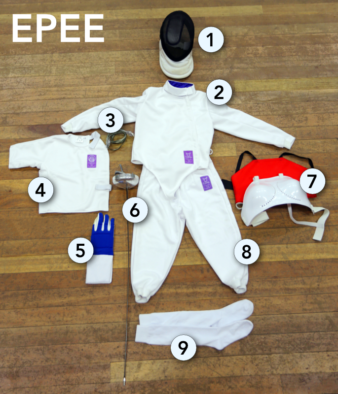 a photo of all the epee gear listed, laid out on a wooden gym floor and shot from above with numbers corresponding to the numbers in the list of items