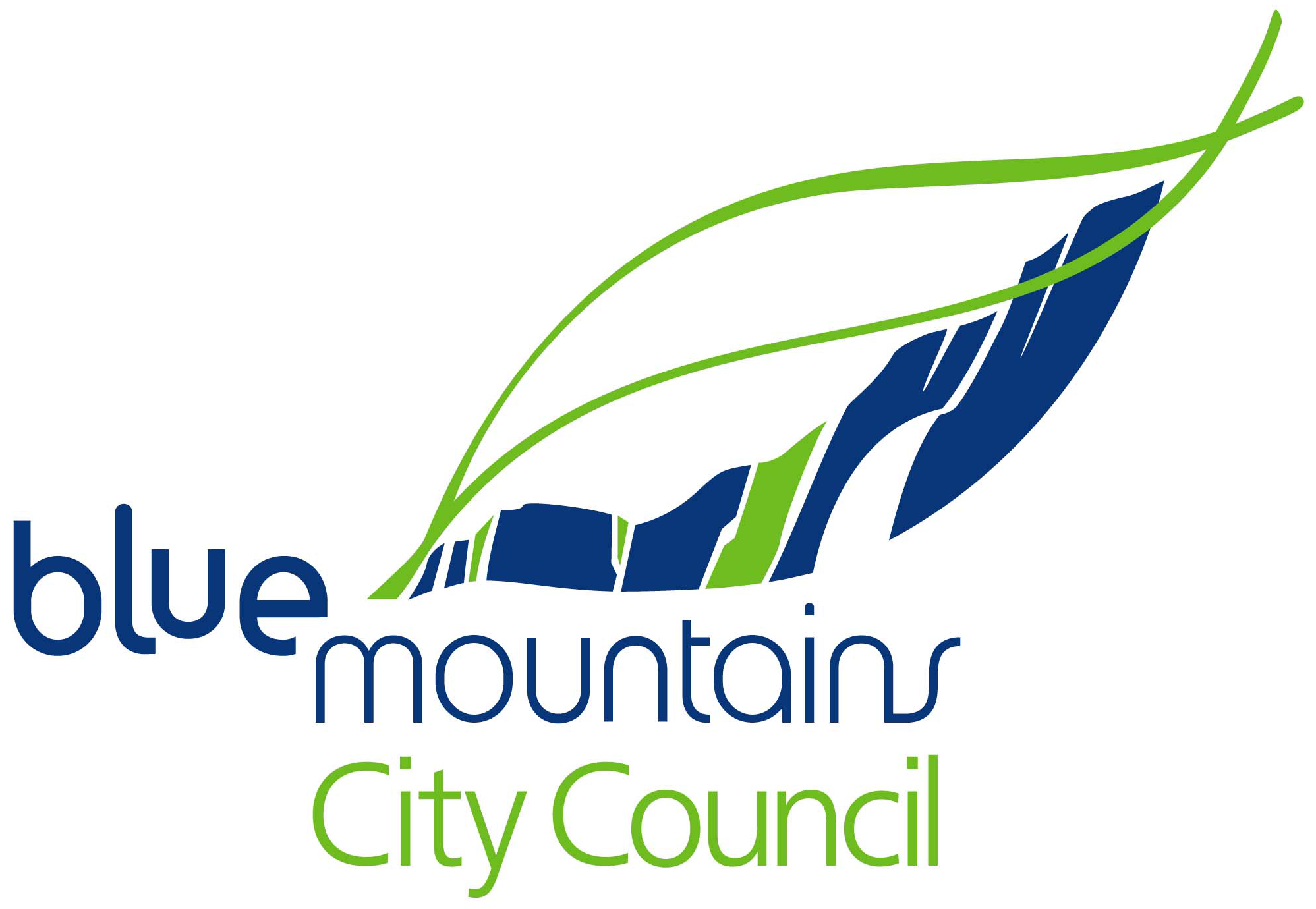 Blue Mountains City Council logo, with 'blue mountains' in dark blue and 'city council' in mid-green, underneath a line drawing of a simple leaf in the same colours, the bottom half of which has uneven blue and green vertical stripes to evoke the escarpments of the mountains