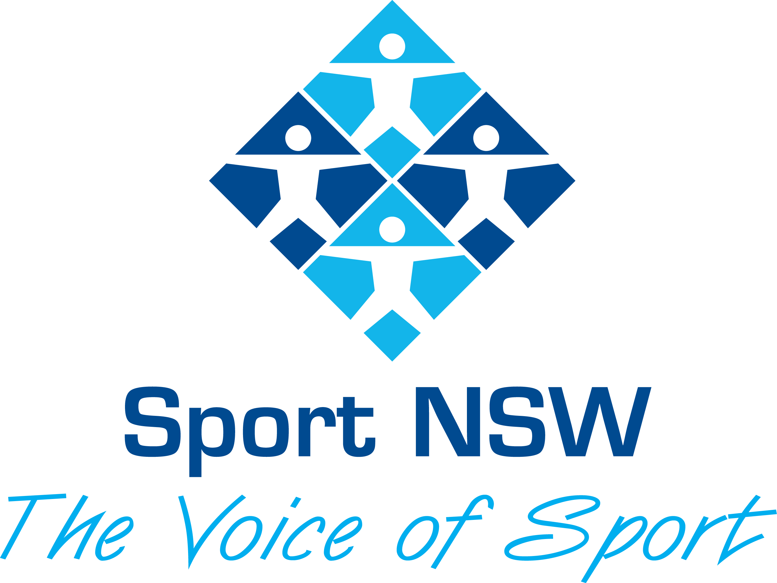 Sport NSW logo, a diamond made of four smaller diamonds of alternating dark and light blue backgrounds on which a white figure stands with arms and legs apart, below the shape is the tagline The Voice of Sport
