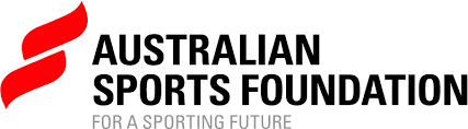 Australian Spots Foundation logo – two bright red pointed lozenge shapes stacked on top of eachother with 'Australian Sports Foundation' in black, all capitals in two lines to the right of the symbol. Beneath the name 'for a sporting future' is set smaller in all capitals in mid grey.