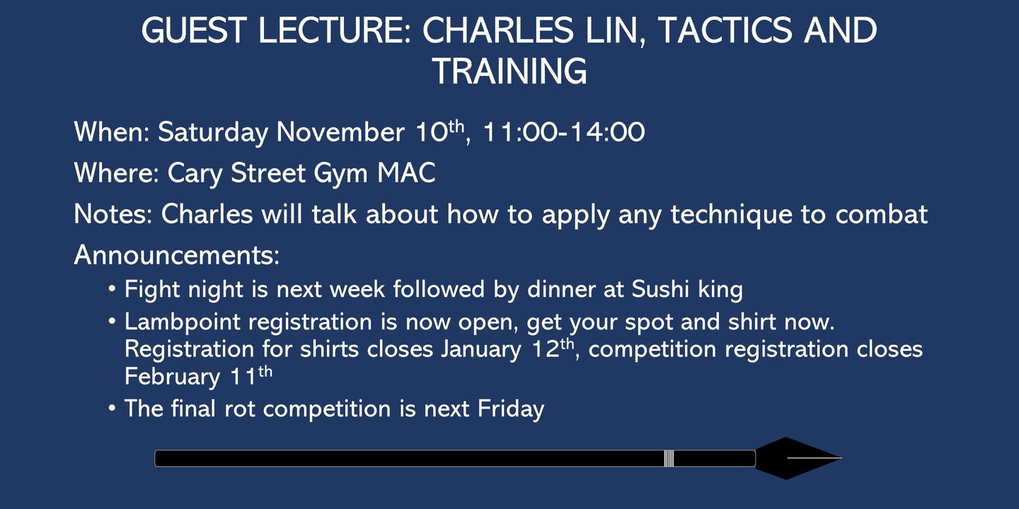 Guest lecture: Charles Lin, Tactics and strategy of adapting