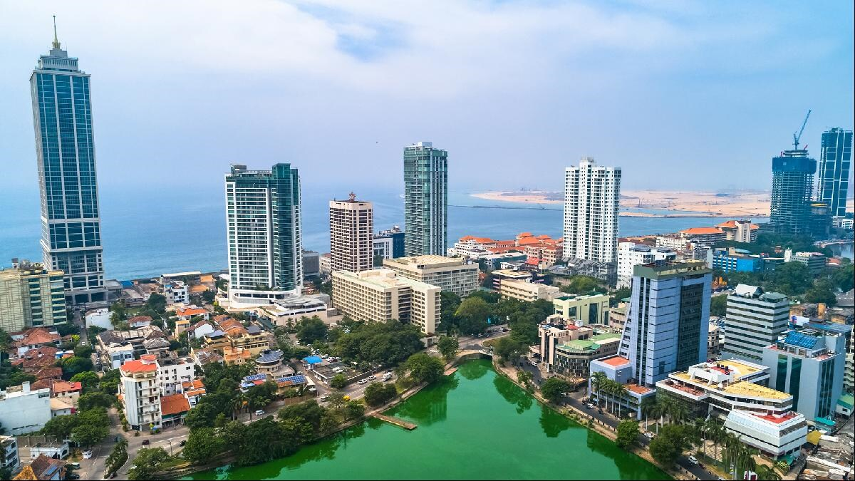 Colombo   with port city being built at top right