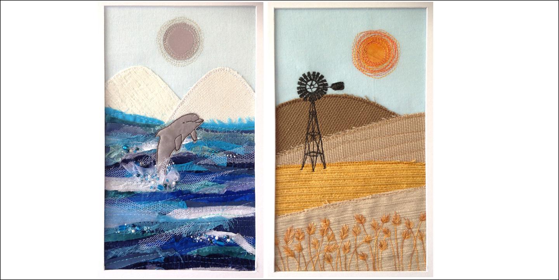 November social day country applique textile art mixed media